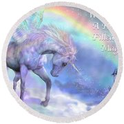 Unicorn Of The Rainbow Card Round Beach Towel by Carol Cavalaris