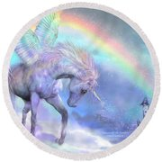 Unicorn Of The Rainbow Round Beach Towel by Carol Cavalaris