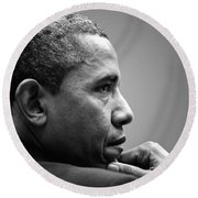 United States President Barack Obama Bw Round Beach Towel by Celestial Images