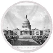 Us Capitol Building - Washington Dc Round Beach Towel by War Is Hell Store