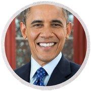 U.s. President Barack Obama  Round Beach Towel by MotionAge Designs