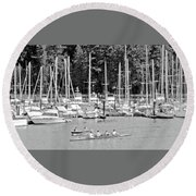 Vancouver Marina No. 1-1 Round Beach Towel by Sandy Taylor