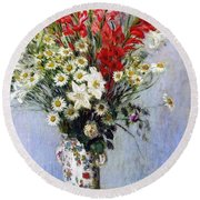Vase Of Flowers Round Beach Towel by Claude Monet