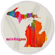Vibrant Colorful Michigan State Map Painting Round Beach Towel by Design Turnpike