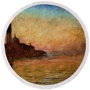 View Of San Giorgio Maggiore Round Beach Towel by Claude Monet