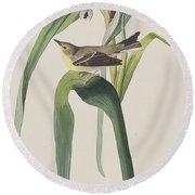 Vigor's Warbler Round Beach Towel by John James Audubon