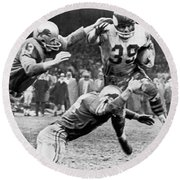 Viking Mcelhanny Gets Tackled Round Beach Towel by Underwood Archives