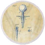 Vintage 1899 Golf Tee Patent Artwork Round Beach Towel by Nikki Marie Smith