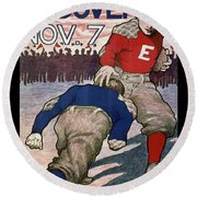 Vintage College Football Exeter Andover Round Beach Towel by Edward Fielding
