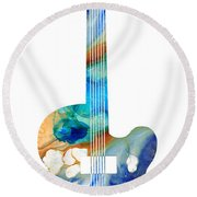Vintage Guitar - Colorful Abstract Musical Instrument Round Beach Towel by Sharon Cummings