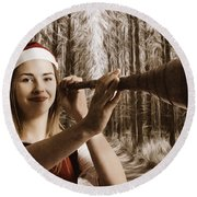 Vintage Santa Elf Searching For Christmas Fun Round Beach Towel by Jorgo Photography - Wall Art Gallery
