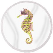 Violet Green Seahorse - Square Round Beach Towel by Amy Kirkpatrick