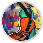 Violins Round Beach Towel by Melanie D