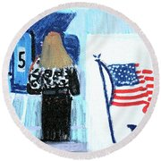 Voting Booth 2008 Round Beach Towel by Candace Lovely