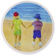 Round Beach Towel featuring the painting Walk On The Beach by Rodney Campbell