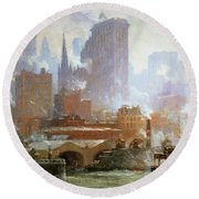 Wall Street Ferry Ship Round Beach Towel by Colin Campbell Cooper