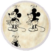 Walt Disney Mickey Mouse Patent 1929 - Vintage Round Beach Towel by Stephen Younts