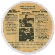 Wanted Poster - Bonnie And Clyde 1934 Round Beach Towel by F B I