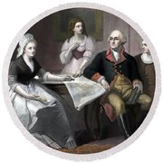 Washington And His Family Round Beach Towel by War Is Hell Store