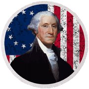 Washington And The American Flag Round Beach Towel by War Is Hell Store