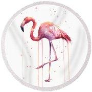 Watercolor Flamingo Round Beach Towel by Olga Shvartsur