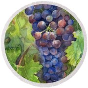Watercolor Grapes Painting Round Beach Towel by Olga Shvartsur