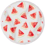 Watercolor Watermelon Pattern Round Beach Towel by Uma Gokhale