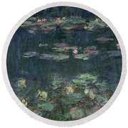 Waterlilies Green Reflections Round Beach Towel by Claude Monet