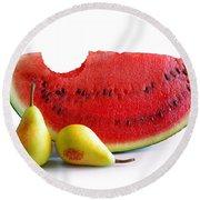 Watermelon And Pears Round Beach Towel by Carlos Caetano