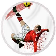 Wayne Rooney Round Beach Towel by Armaan Sandhu