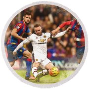 Wayne Rooney Shoots At Goal Round Beach Towel by Don Kuing