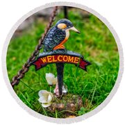 Welcome Sign Round Beach Towel by Adrian Evans