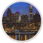 Welcome To Penn's Landing Round Beach Towel by Susan Candelario