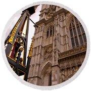 Westminster Abbey London England Round Beach Towel by Jon Berghoff