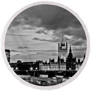 Westminster Black And White Round Beach Towel by Dawn OConnor