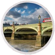 Westminster Bridge Round Beach Towel by Adrian Evans