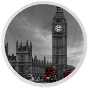 Westminster Bridge Round Beach Towel by Martin Newman