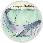 Whale Happy Birthday Card Round Beach Towel by Katrina Davis