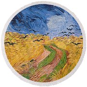 Wheatfield With Crows Round Beach Towel by Vincent van Gogh