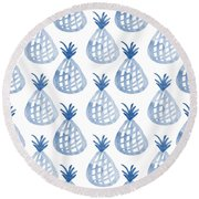 White And Blue Pineapple Party Round Beach Towel by Linda Woods