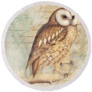White Faced Owl Round Beach Towel by Mindy Sommers