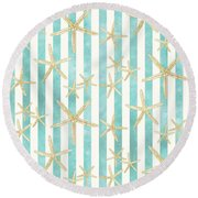 White Finger Starfish Watercolor Stripe Pattern Round Beach Towel by Audrey Jeanne Roberts