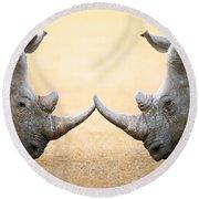White Rhinoceros  Head To Head Round Beach Towel by Johan Swanepoel