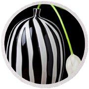 White Tulip In Striped Vase Round Beach Towel by Garry Gay