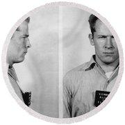 Whitey Bulger Mug Shot Round Beach Towel by Edward Fielding