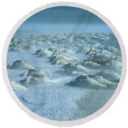 Whooper Swans In Snow Round Beach Towel by Teiji Saga and Photo Researchers