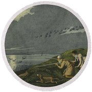 Wild Fowl Shooting Round Beach Towel by Henry Thomas Alken