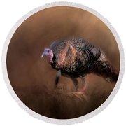 Wild Turkey In The Woods Round Beach Towel by Jai Johnson