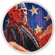 Willie Nelson Round Beach Towel by Taylan Apukovska