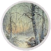 Winter Breakfast Round Beach Towel by Joseph Farquharson